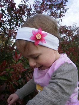 Bandeau bébé fleur Hawaï Fuchsia