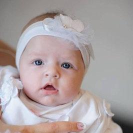 bandeau bébé baptême coton blanc tulle paillettes argentés papillon blanc idée cadeau naissance baptême anniversaire création artisanale