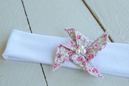Bandeau bébé liberty Eloise rose fille baptême mariage communion headband moulin à vent en coton écru ou blanc style romantique