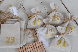 Calendrier de l'avent Noël AE artisanal et réutilisable - Tissu jute beige - chiffres dorés- Calendrier de l'avent traditionnel champêtre