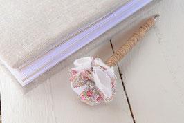 Stylo livre d'or fleur liberty Eloïse rose lin blanc  & strass pour mariage baptême thème champêtre