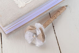Stylo livre d'or fleur jute lin métallisé et dentelle, strass pour mariage baptême champêtre