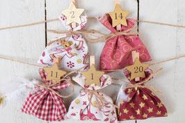 Calendrier de l'avent Noël réutilisable et artisanale en tissu rouge-doré avec pince bois chiffre