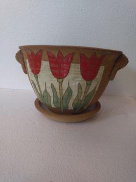 Vaso ovale con sottovaso H. cm. 16,5 ovale superiore cm. 20x22 (circa)