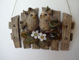 Recinzione con uccellini innamorati H 18 cm., L 27 cm., P 4,5 cm. (circa)