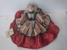 Bambola in porcellana completamente fatta a mano da collezione H cm. 26 (testa/piedi) diametro vestito cm. 30