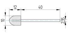Polierkörper 10 x 12 aus Wollfilz und Messingfasern mit Schaft