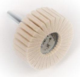 50 x 20 Lamellenpolierkörper aus Wollfilz mit Edelstahlschaft 6mm.