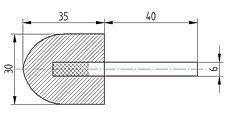 Polierkörper 30 x 35 aus Wollfilz und Messingfasern mit Schaft