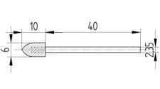 Polierkörper 6 x 10 aus Wollfilz und Messingfasern mit Schaft