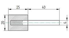 Polierkörper 20 x 25 aus Wollfilz und Messingfasern mit Schaft