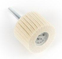 40 x 30 Lamellenpolierkörper aus Wollfilz mit Edelstahlschaft 6mm.