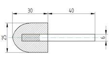 Polierkörper 25 x 30 aus Wollfilz mit Schaft 6mm.