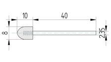 Polierkörper 8 x 10 aus Wollfilz und Messingfasern mit Schaft