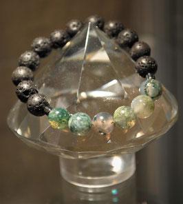 Bracelet Pierres de lave et Agate mousse