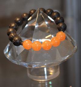 Bracelet Pierres de lave et Aventurine orange