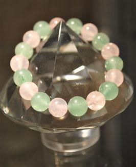 Bracelet Aventurine verte et Quartz rose