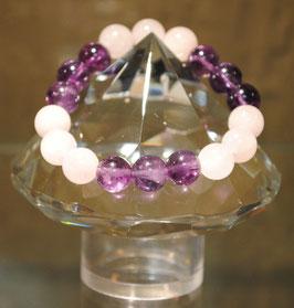 Bracelet Quartz rose & Améthyste