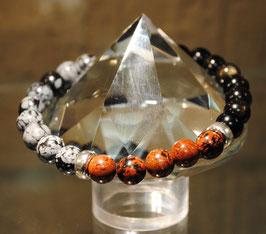 Bracelet Obsidienne dorée - flocons de neige - brune