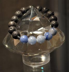 Bracelets Pierres de lave et Aventurine bleue
