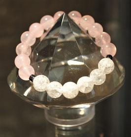 Bracelet Quartz rose et Cristal de roche