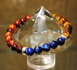Bracelet Œil de tigre bleu - jaune - taureau