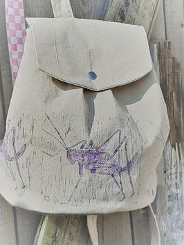 17/2020 Rucksack mit Linolschnitt handgedruckten Hüpfer lila