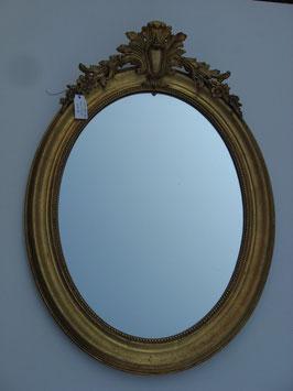 Miroir ovale avec fronton XIX ème