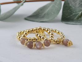 Ringe aus vergoldetem Silber und chocolat Mondstein * (DFR 50)