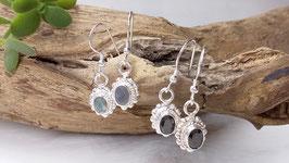 Ohrringe aus Silber mit Labradorit oder Onyx (DOS 27)