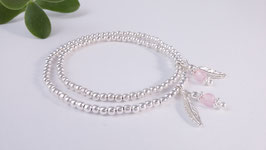 Mutter-Tochter-Armband aus Silber und Rosenquarz* (MT 11)