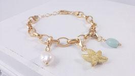 Armband aus vergoldetem Silber - mit Charms ( DAB 105)