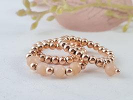 Ringe aus rosé vergoldetem Silber und Sonnenstein * (DFR 46)
