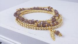 Armbänder aus vergoldetem Silber und chocolate Mondstein * (DAB 90)