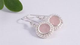 Ohrringe aus Silber und Rosenquarz (DOS 8)