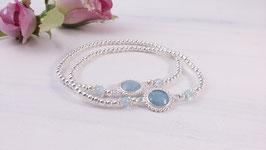 Mutter-Tochter-Armband aus Silber und Aquamarin * (MT 15)