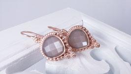 Ohrringe aus rosé vergoldetem Silber mit Chocolate Mondstein  (DOS 33)