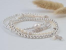 Silberarmbänder mit grauem Achat oder Süsswasserperlen *  (DAB 136)