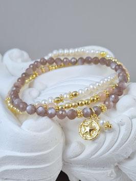 Armbänder aus vergoldetem Silber, chocolat Mondstein, Süsswasserperlen und Sonnenstein *  (DAB 141)