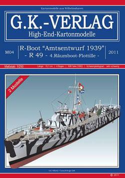 """2 R-Boote """"Amtsentwurf 1939"""" R 49, deutsche Anleitung, extrem"""