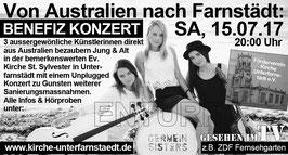 Vorverkauf 1 Ticket (Erwachsene) Benefiz Unplugged Konzert der Germein Sisteres in/zu Gunsten der Kirche Unterfarnstädt (Farnstädt) am Samstag, 15. Juli 2017. Türöffnung: 19:30, Beginn: 20:00 Uhr.