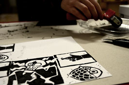 "Atelier ""Linogravure & Stickers"":"