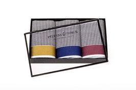 Taschentücher schwarz-weiß kariert mit bunter Atlaskante