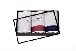 Taschentücher fein kariert mit bunter Atlaskante