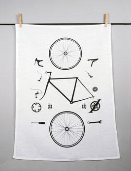 Geschirrtuch Fahrrad in Einzelteilen
