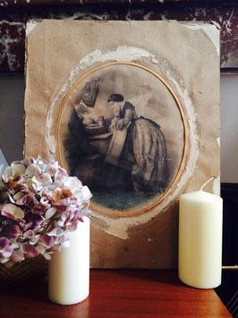 Lithographie Emile Desmaisons  Prière du soir
