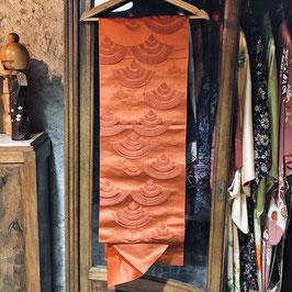 Ancien Fukuro obi soie rouge - motifs seigaiha