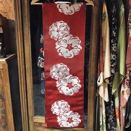 Ancien Maru Obi en soie - fleurs tissées rouge & argent
