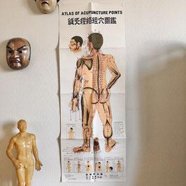 Affiche acupuncture vintage de Honma Shohaku années 70
