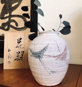 Vase vintage céramique Minô de kikyôya par Kosaburo Godai